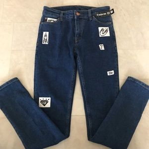 """NWT SZ 28"""" ASOS jeans with various funny patches"""